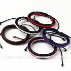 Pick Color Men Cool PU Leather Stripe Weave knitted Adjustable Bracelet Gift New