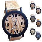 Hot!Vintage Wood Grain Roman Numerals Watches Fashion Men's Women's Watches Gift