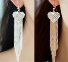Elegant Women Ear Hook Dangle Crystal Long Tassel Rhinestone Earring Gold silver