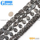 Natural Gemstone Black Larvikite DIY Crafts Making Loose Stone Beads Strand 15""