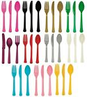 24 PIECE PLASTIC CATERING CUTLERY WEDDING BBQ PARTY SOLID COLOUR SUPPLIES TABLE