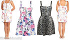 Womens Floral Leopard Print Skater Dress Padded Bracup Straps Front Zip Ladies