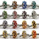 5x Crystal Rhinestone European Big Hole Loose Bead Fit Charm Bracelet Pick Color