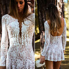 Women V Neck Lace Open Back Sheath Bodycon Sexy Summer Party Cocktail Mini Dress