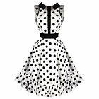 Hearts & Roses London White Polka Dot Vintage 50s Prom Swing Flared Dress