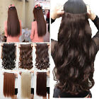 New Half full head clip in hair extensions wave brown real human hairpieces 7II3