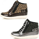 Brand New Leopard Zip Casual Shoes For Women Hidden Wedge Fashion Sneakers
