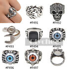 Men Titanium Steel Biker Ring Fashion Gothic Cool Jewelry Punk Rock Size 10