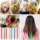 Women Multi Color Long Straight Synthetic Clip in on Hair Extensions Piece Girls