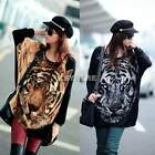 Women Cowl Neck Batwing Knit Long Jumper Pullover CasualTops Tiger Print Sweater