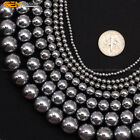 "Round Silver Hematite DIY Jewelry Making Loose Gemstone Beads 15"" Size Select"