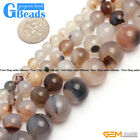 Natural Gemstone Gray Stripe Agate Loose Round Beads For Jewelry Making 15""