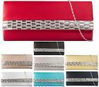 LADIES DIAMANTE PLAIN SATIN CLUTCH BAG EVENING BRIDAL PROM WEDDING HANDBAG