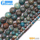 Round Faceted Gemstone Blue Crazy Lace Agate DIY Crafts Jewelry Making Beads 15""