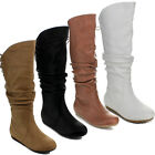 Top Moda BANK-53 Women's Knee High Lace-up Slouched Boots