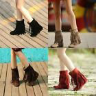 Ladies Round Toe Hidden Low Heel fringe rivet studded tassels Dating boots shoes