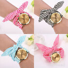 Retro Fashion Cute Womens Striped Bow Bracelet Analog Quartz Wrist Watch Jewelry