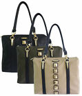 Ladies LYDC Designer Studs Satchel Women Leather Style Handbag Ladies Tote Bag