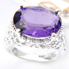 Angle's Wing Mystical Amethyst Gemstone Silver  Ring Size 7 8 9