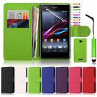 PU Leather Wallet Flip Case Cover & Screen Protector & Stylus For Sony Xperia E4
