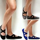 New Women BRv4 Comfy Sole  Black Blue Tweed Mary Jane Criss Cross Ballet Flats