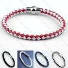 Mens Women Biker PU Leather Woven Magnetic Clasp Bracelet Bangle Wristband Hot