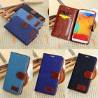 Vintage Cowboy Jeans Style PU Wallet Case For iPhone Samsung Sony HTC LG Series