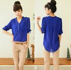 Lady V Neck Chiffon Top Long Sleeve Button Tee Shirt Loose Blouse 3 COLOR S-XL