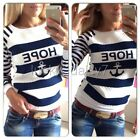 Casual Womens Round Neck Pullover T-Shirt Long Sleeve Tops Blouse S-XL