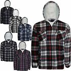 MENS HOODED SHERPA LINED SHIRT PADDED FLEECE THICK LUMBER JACK WARM CHECK HOODIE