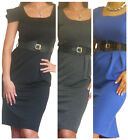 Dress Ladies Work Office Womens Party Pencil BodyCon Midi Size 8 10 12 14 16 18