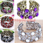 HOT Rhinestone Crystal Resin Cutout Flower Bangle Bracelet Fashion Jewelry Gift
