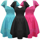 Womens Cute Floral Retro Vintage 1950s Style Party Prom Summer Sun Dress