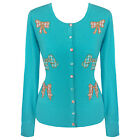 Womens Blue Bow Cardigan Top Vintage 1950s Rockabilly Pinup