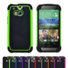 Shock Proof Heavy Duty Hybrid Hard Armour Builder Case Cover For HTC One M8