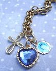 New Religious Catholic Vintage Our Lady Lourdes Blue Medal Heart Cross Bracelet