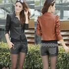 New Korean Womens PU Leather Clothing Female Slim Motorcycle Leather Jacket Coat