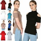 Womens Ladies Ribbed Cold Cut Shoulder High Low Polo Neck Side Slit T Shirt Top