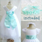 Gorgeous white/aqua pool blue bridal flower girl dress FREE HEADPIECE all sizes