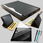 New Black Leather Wallet Smart Case Cover Sleep / Wake Stand for APPLE iPad
