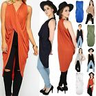 Womens Ladies Longline Drape Deep Plunge V Neck Cross Fold Twisted T Shirt Top