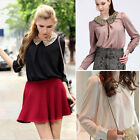 NEW Womens Lady Style Sequins Collar Long Sleeve Loose Chiffon Shirt Blouse Tops