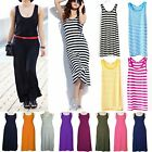 Women Casual Sleeveless Full Length Long Maxi Vest Dress BOHO Stripe Maxi Skirt