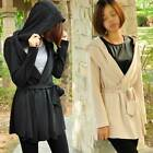 Womens Lady Slim Long Sleeve Jacket Long Outwear Hoodie Trench Coat S M L Belt