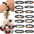 Unisex Black Lava Rock Buddha Skull Head Hamsa Hand Evil Eye Ball Beads Bracelet