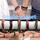 Mens Womens Multilayer Leather Braided Warp Lover Wristaband Friendship Bracelet