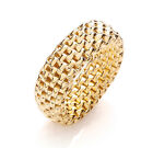 J - JAZ Sterling Silver Gold Coated Stretchy Mesh 8mm ring  Fit from size J - V