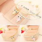 New Fashion Womens Gold Silver Plated Owl Crystal Chain Bracelet Charm Jewelry