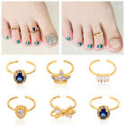 Women Adjustable Toe Ring with CZ  Zirconia Cubic Crystal Fashion Nail Jewelry