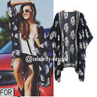 kw15 Celebrity Fashion Loose Fit Open Front Leaf Print Kimono Crop Wrap Top